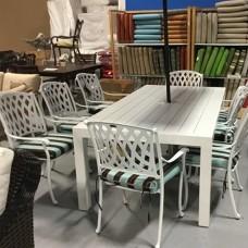 White Cast Aluminum Dining Set